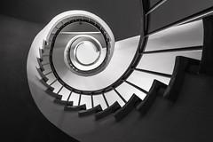 Shades of grey - Hotel Reichshof (Elbmaedchen) Tags: stairs staircase stairwell stufen wendeltreppe escaleras escaliers treppenhaus treppenauge treppe upanddownstairs roundandround interior hamburg hotel bw schwarzweis spirale spirals curvy unterwegsmitmichi