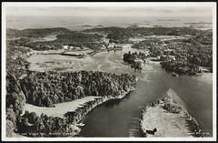 Postkort fra Agder (Avtrykket) Tags: bolighus bro elv flyfoto hus postkort skjærgård vassdrag arendal austagder norway nor