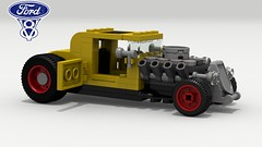 '32 Ford Hot Rod (side view) (LegoGuyTom) Tags: 1930s 1932 ford classic vintage american america coupe v8 famous old pov povray power school lego ldd legos digital designer city lxf download dropbox model a hot road rod hotrod