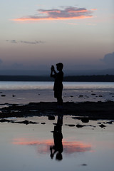 Pano (Mikey Down Under) Tags: australia children coast kids lake lakeside nsw photo photographing pink silhouette south stgeorgesbasin sunset water