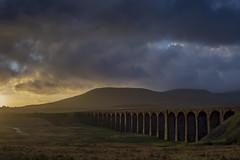 Ribblehead_14 (julesh1966@googlemail.com) Tags: ribbleheadviaduct northyorkshire yorkshiredales sunrise clouds railway landscape grassland ingleborough colour autumn ariel drone