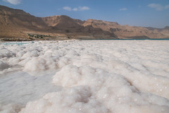 Salt crystals in the Dead Sea, Israel