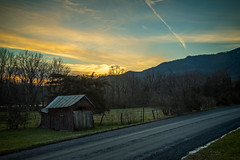 Sunset at Sessler's Farm (Brett of Binnshire) Tags: usa landscape sunset dirtroad weather luray clouds hdr locationrecorded lrhdr virginia building manipulations scenic lightroomhdr architecture mountains shed johnanddebrasesslersfarm road field highdynamicrange mountain us