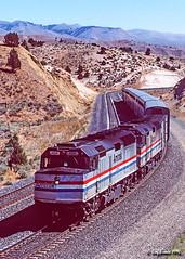 The Pioneer Pulls the Hill (C.P. Kirkie) Tags: amtrak amtrakpioneer amtk pioneer unionpacific up f40ph emd superliner oregon oregontrail easternoregon bluemountains passengertrain trains railroads