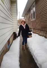 Be Careful--It's Slippery! (Laurette Victoria) Tags: snow winter milwaukee woman laurette hat scarf coat gloves leggings purse