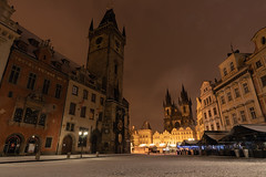 Astronomical Clock Tower (pboolkah) Tags: prague czechrepublic cz canon canon5d snow winter night christmas canon5dmkiv architecture
