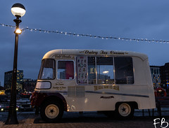 Ice Cream for Albert! (frisiabonn) Tags: uk england liverpool merseyside albert dock docks harbour icecream van vintage austin lamp post light britain outdoors vehicle night evening dessert shop christmas decorations celebrations xmas