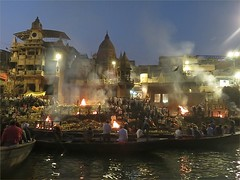 Cremation Pyres (Mary Faith.) Tags: death cremation fire pyre varanasi india ganges river burial architecture religious hindu holy ceremony smoke