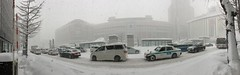JR Sapporo Station in the Snow 1 (sjrankin) Tags: 11january2019 edited sapporo hokkaido japan snow clouds winter roa cars buildings skyline city panorama jrsapporostation southentrance jrtower taxis departmentstores people