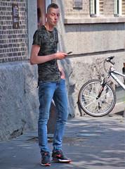 IMG_4617 (Skinny Guy Lover) Tags: outdoor people candid guy man male dude skinny slender lean lanky jeans bluejeans nikes nikeshoes nikesneakers nikeairmax airmax90 smartphone