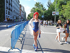 The Beautiful Woman From Madrid (kirstiecat) Tags: madrid spain woman lgbtq pride love acceptance redhair espana street canon female color colour red blue