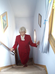 Another One Of My Attempts to Emulate Those Stylish Women I Grew Up Viewing On TV And In The Movies And In Person (Laurette Victoria) Tags: red suit blonde laurette lady woman