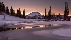 Tipsoo Lake at Sunset. (Mt Rainier NP, WA) (Sveta Imnadze) Tags: nature landscape mountains mtrainier mtrainiernp wa tipsoolake frost ice sunset reflection snow