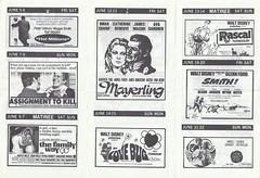 June 1970 - Movie Theatre Showtimes Program at CFB Cornwallis, Nova Scotia (back) (Treasures from the Past) Tags: cfbcornwallis cfbtheatre june1970 movies 1970 theatre novascotia canada