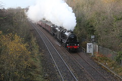 LMS Stanier 5MT No. 45212 & 45157 'The Glasgow Highlander'  with WCRC 1Z50 'The Citadel' running North of Clitheroe near Horrocksford on 10th November 2018 © (steamdriver12) Tags: smoke steam coal oil mainline preservation heritage england autumn lms stanier 5mt no 45212 45407 west coast railway company wcrc 1z50 the citadel clitheroe 10th november 2018 lancashire 45157 glasgow highlander