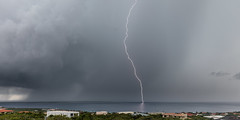 Where lighting strikes (Beth Bennett & Gérard Cachon) Tags: bonaire netherlandsantilles dutchcaribbean lightning storm rain seascape ocean sea caribbean water dark thunder bolt streak electricity