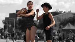 You Took My Hat! (Anthony Mark Images) Tags: hat dancerountine comical funny dancers bojanglesdancesudios boy girl blackcostumes people portrait fun bestival belmontstreetfestival kitchener ontario canada monochrome blackandwhite selectivecolour nikon d850