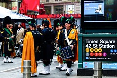 Pipers in the city (NYPD) (meganmcburnie) Tags: america usa tourist travels newyork timessquare piper bagpipes nypd nyc