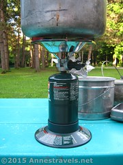 Coleman Single Burner Propane Stove Underside (Anne's Travels3) Tags: coleman propane stove review green