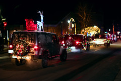 Jeeps (Chancy Rendezvous) Tags: chancyrendezvous davelawler blurgasm christmas jeeps parade jeep wrangler decorated lights holiday street festival night dark massachusetts smalltown town newengland lawler