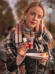 Autumn Drink (T.J. Photography) Tags: mulled wine mince pie leather jacket scarf soft autumn dusk cafe richmond
