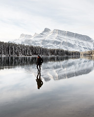 Two Jack Lake (Tanner Wendell Stewart) Tags: ifttt 500px mountain winter mountains banff national park canada two jack lake man walking water canadian rockies explore exploring adventure lifestyle photos epic hiking photographer neutral white flat colors lower contrast low clean image imagery
