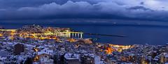 Snow covered city (Mavroudakis Fotis) Tags: winter snow blizzard greece kavala sea city lights sunset blue hour bluehour europe seascape cloudscape ski chilly ice nature destination