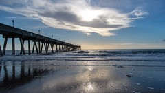 Pier (ramseybuckeye) Tags: life pentax fall reflection sky clouds sand surf waves ocean atlantic pier fishing carolina north wilmington beach wrightsville