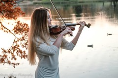 Sunset Melody (Dimi Alexeyev) Tags: fujifilm xt2 xf50140mmf28 r lm ois wr young russian long hair blonde girl sunset violin white short dress water ducks pond playing red leaves fall