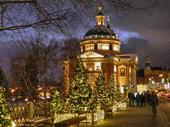 New year in Moscow (janepesle) Tags: moscow russia illumination decoration new year christmas holiday cityscape city outdoors urban architecture travel night light evening church snow winter street tree