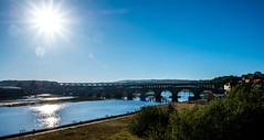 Bridges (Peter Leigh50) Tags: berwick upon tweed river sun bridge town landscape fujifilm fuji xt2