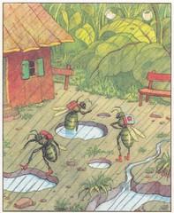 Das fröhliche Jahr / Der Wurzelsepp / Bild 9 (micky the pixel) Tags: buch book livre kinderbuch childrensbook gondromverlag schwagersteinleinkunstanstalt dasfröhlichejahr josefsteck hermannblömer derwurzelsepp käfer bug regen rain wasserpfütze puddle schule school