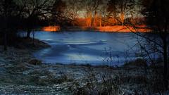 Frozen Pond (Tim @ Photovisions) Tags: xt2 pond fuji sun beatrice fujifilm dawn sunlight frozen ice nebraska gagecounty water cold