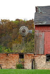 framed by the barn (WORLDS APART PHOTO) Tags: rustic ruraldecay decay barn windmillwednesday windmills wisconsin fall trees grass sky dtour fermentationfest reedsburg color
