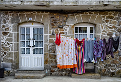 Laundry Day (Jocelyn777) Tags: villages towns stone stonehouses buildings architecture doorsandwindows facades laundry washing clothes fisterra fisterre galicia spain travel