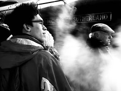 Big Love (sjpowermac) Tags: biglove love duchessofsutherland 6233 steam watching windy flatcap yorkshire hug hat bobblehat cold huddle togetherness enthusiasts