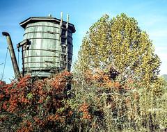 RR Museum Water Tank (Neal3K) Tags: georgia northgeorgia 35mm depot kodakportra400 nacoocheeschool rr rabungaprailroadmuseum railroad rangefindercamera watertank olympus35mm