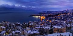 Colorful winter sunset (Mavroudakis Fotis) Tags: winter snow blizzard greece kavala sea city lights sunset blue hour bluehour europe seascape cloudscape ski chilly ice nature destination