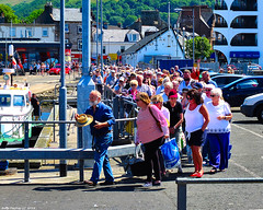 Scotland West Coast passengers eager to get on the paddle steamer Waverley at Largs pier 1 July 2018 by Anne MacKay (Anne MacKay images of interest & wonder) Tags: scotland west coast passengers paddle steamer waverley largs pier 1 july 2018 picture by anne mackay