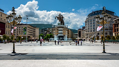 Macedonia Square with 'Warrior on a Horse' monument (Alexander the Great) in the centre - Skopje, Macedonia (Russell Scott Images) Tags: macedoniasquare statue monument warrioronahorse alexanderthegreat fountain bronze skopje macedonia