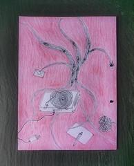 """""""Our pleasant sojourn in Aranjuez is over now"""" (First Sentence of the play """"Don Karlos"""" by Schiller) """"Die schönen Tage in Aranjuez sind nun zu Ende"""" - Doodle in my Prompter Book """"Don Karlos"""" Page 3 Beginn des Stückes (hedbavny) Tags: eye auge platte vinyl schallplatte plattenspieler brief letter kuvert envelope umschlag briefumschlag frucht fruit obst blatt leaf write schreiben zerknüllen zerknittern crumble ungeschrieben spirale kreis circle stecker ausgesteckt baum tree ast branch wurzel radix root rinde bark textur heart herz bleistift pencil ballpoint kugelschreiber red rot grau grey schwarz black green grün schiefer schieferplatte untersetzer loch hole gelocht theater theatre work arbeit souffleuse prompter sketch skizze doodle wien vienna austria österreich hedbavny illustration"""