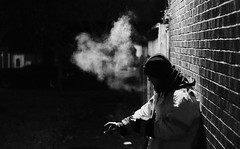 DSCF337711-30 PM (edesüket) Tags: night person man walk dark street city town lights smoke photo photography fuji fujifilm xt3 shadow shadows blackandwhite bnw