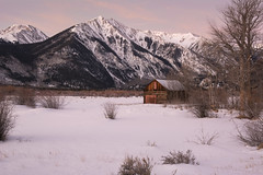 Sawatch Cabin Winter (Aaron Spong Fine Art) Tags: sawatch colorado cabin mountains sunrise sunset pink soft colorful winter twin hope mount mt independence lakes lake frozen pass water snow snowy rustic western