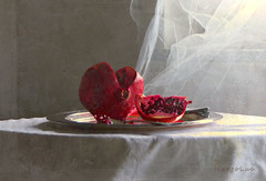 Winter Still Life ... (MargoLuc) Tags: pomegranate fruits red sweet table natural light stilllife window backlight silver spoon shadows texture glow wintertime