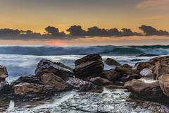 Waves and Rocks at Sunrise (Merrillie) Tags: daybreak sunrise cloudy australia nsw centralcoast clouds sea newsouthwales rocks earlymorning morning water landscape ocean nature sky waterscape coastal seascape outdoors killcarebeach dawn coast killcare waves