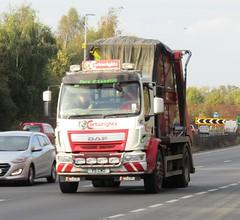 Cartwright's waste services V5 CWD on the A5 at Shrewsbury (Joshhowells27) Tags: lorry daf lf daflf cartwrightswasteservice skip v5cwd