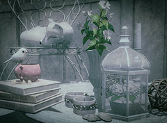 Book Of Days (larisalyn (Rachel)) Tags: book books bird fox cup coffee tea flowers vase candle decoration chair secondlife vintage drd