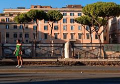 Roma / Largo di Torre Argentina / The girl (Pantchoa) Tags: rome italie torreargentina ruines pins rue viadellebottegheoscure largoditorreargentina maisons façades europe ville personne femme thegirl