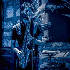 Blue Man (migueldunham) Tags: mexico mikedunham morelia michoacan music jazz