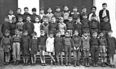 1952a École Ferdinand Buisson (theirhistory) Tags: boy child kid school class form pupils jacket coat shorts shoes wellies